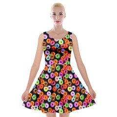 Colorful Yummy Donuts Pattern Velvet Skater Dress