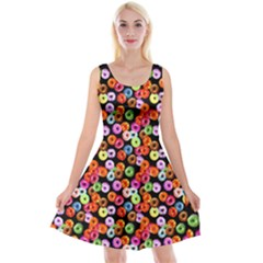 Colorful Yummy Donuts Pattern Reversible Velvet Sleeveless Dress