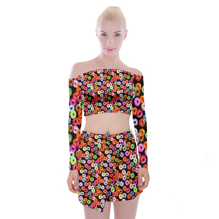 Colorful Yummy Donuts Pattern Off Shoulder Top with Skirt Set