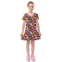 Colorful Yummy Donuts Pattern Kids  Short Sleeve Velvet Dress