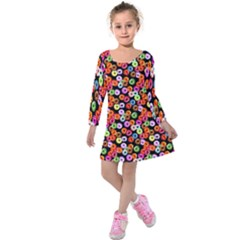 Colorful Yummy Donuts Pattern Kids  Long Sleeve Velvet Dress