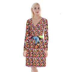 Colorful Yummy Donuts Pattern Long Sleeve Velvet Front Wrap Dress