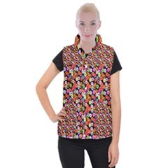 Colorful Yummy Donuts Pattern Women s Button Up Puffer Vest