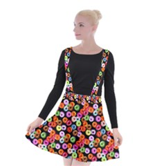 Colorful Yummy Donuts Pattern Suspender Skater Skirt