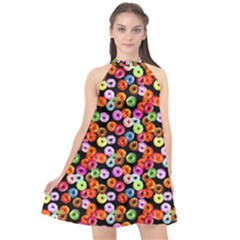 Colorful Yummy Donuts Pattern Halter Neckline Chiffon Dress