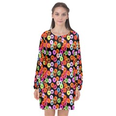 Colorful Yummy Donuts Pattern Long Sleeve Chiffon Shift Dress