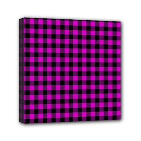 Lumberjack Fabric Pattern Pink Black Mini Canvas 6  x 6