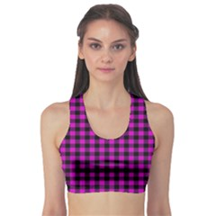 Lumberjack Fabric Pattern Pink Black Sports Bra
