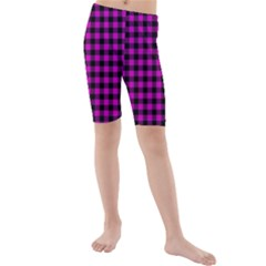 Lumberjack Fabric Pattern Pink Black Kids  Mid Length Swim Shorts