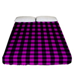 Lumberjack Fabric Pattern Pink Black Fitted Sheet (California King Size)
