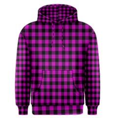 Lumberjack Fabric Pattern Pink Black Men s Pullover Hoodie