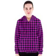 Lumberjack Fabric Pattern Pink Black Women s Zipper Hoodie