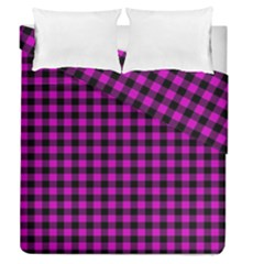 Lumberjack Fabric Pattern Pink Black Duvet Cover Double Side (Queen Size)