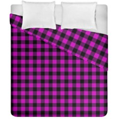 Lumberjack Fabric Pattern Pink Black Duvet Cover Double Side (California King Size)