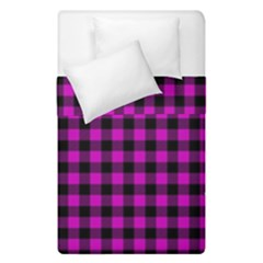 Lumberjack Fabric Pattern Pink Black Duvet Cover Double Side (Single Size)