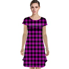 Lumberjack Fabric Pattern Pink Black Cap Sleeve Nightdress