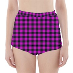 Lumberjack Fabric Pattern Pink Black High-Waisted Bikini Bottoms
