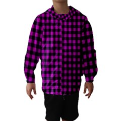 Lumberjack Fabric Pattern Pink Black Hooded Wind Breaker (Kids)