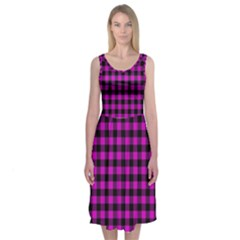 Lumberjack Fabric Pattern Pink Black Midi Sleeveless Dress