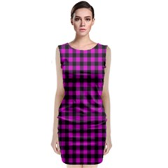 Lumberjack Fabric Pattern Pink Black Classic Sleeveless Midi Dress