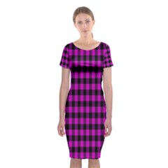 Lumberjack Fabric Pattern Pink Black Classic Short Sleeve Midi Dress