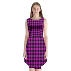 Lumberjack Fabric Pattern Pink Black Sleeveless Chiffon Dress
