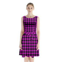 Lumberjack Fabric Pattern Pink Black Sleeveless Chiffon Waist Tie Dress