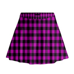 Lumberjack Fabric Pattern Pink Black Mini Flare Skirt