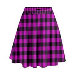 Lumberjack Fabric Pattern Pink Black High Waist Skirt