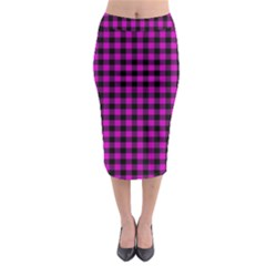 Lumberjack Fabric Pattern Pink Black Midi Pencil Skirt