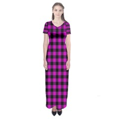 Lumberjack Fabric Pattern Pink Black Short Sleeve Maxi Dress