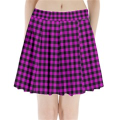 Lumberjack Fabric Pattern Pink Black Pleated Mini Skirt