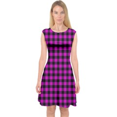 Lumberjack Fabric Pattern Pink Black Capsleeve Midi Dress
