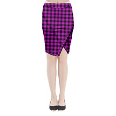 Lumberjack Fabric Pattern Pink Black Midi Wrap Pencil Skirt