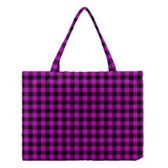Lumberjack Fabric Pattern Pink Black Medium Tote Bag