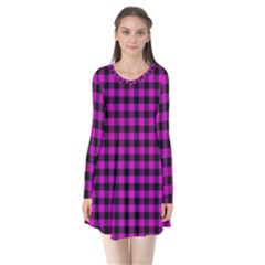 Lumberjack Fabric Pattern Pink Black Flare Dress