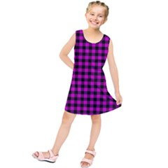 Lumberjack Fabric Pattern Pink Black Kids  Tunic Dress