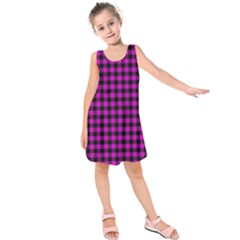 Lumberjack Fabric Pattern Pink Black Kids  Sleeveless Dress