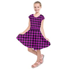 Lumberjack Fabric Pattern Pink Black Kids  Short Sleeve Dress