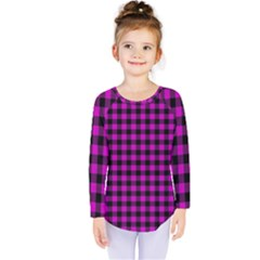 Lumberjack Fabric Pattern Pink Black Kids  Long Sleeve Tee