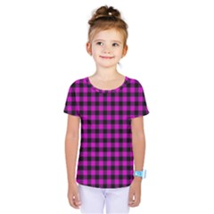 Lumberjack Fabric Pattern Pink Black Kids  One Piece Tee
