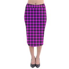 Lumberjack Fabric Pattern Pink Black Velvet Midi Pencil Skirt