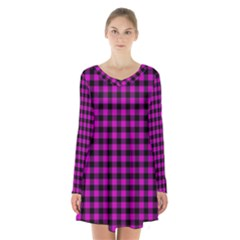 Lumberjack Fabric Pattern Pink Black Long Sleeve Velvet V Neck Dress