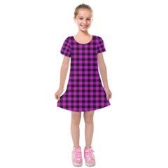 Lumberjack Fabric Pattern Pink Black Kids  Short Sleeve Velvet Dress