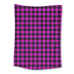Lumberjack Fabric Pattern Pink Black Medium Tapestry