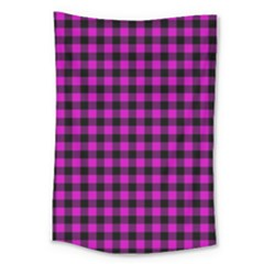 Lumberjack Fabric Pattern Pink Black Large Tapestry