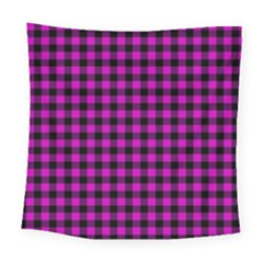 Lumberjack Fabric Pattern Pink Black Square Tapestry (large)