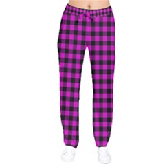 Lumberjack Fabric Pattern Pink Black Drawstring Pants
