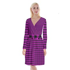 Lumberjack Fabric Pattern Pink Black Long Sleeve Velvet Front Wrap Dress