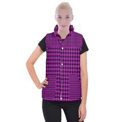 Lumberjack Fabric Pattern Pink Black Women s Button Up Puffer Vest